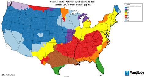 air pollution map america peak month for air pollution by u s county ecoclimax