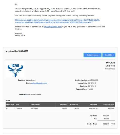 email template for sending invoice 28 images template