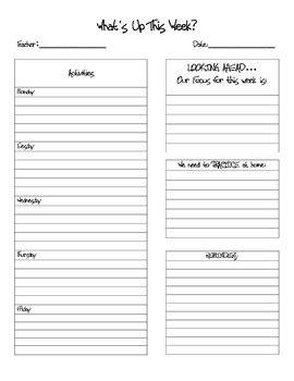 weekly note template  mackenzie hart teachers pay teachers