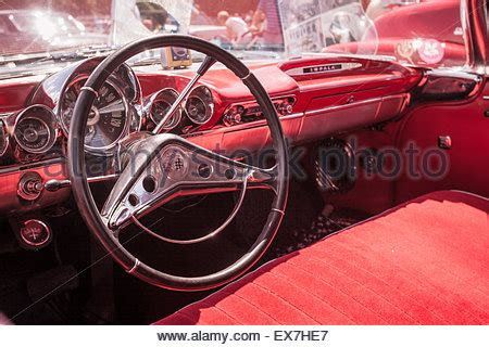 1960's chevrolet classic car dashboard detail with