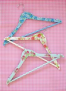 decoupage wooden hangers with floral wrapping paper