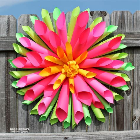 Flower Paper Craft Ideas - doodlecraft dahlia wreath and astrobrights papers
