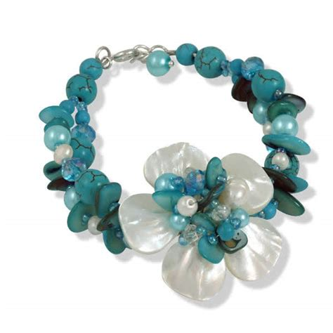 Shell Pearl Bracelet turquoise silver bracelet carved flower shell and pearls