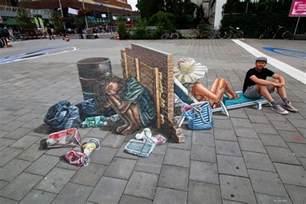 3d street painting street art by chalk artist leon keer