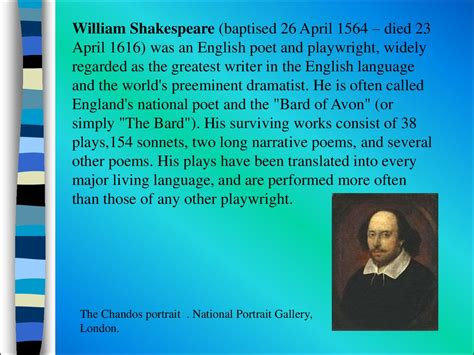 shakespeare biography in english british literature william shakespeare презентация онлайн