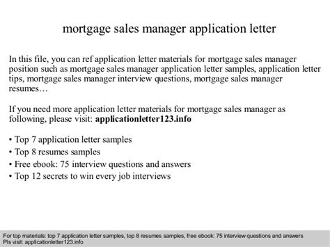 Mortgage Sales Letter Sle Mortgage Sales Manager Application Letter