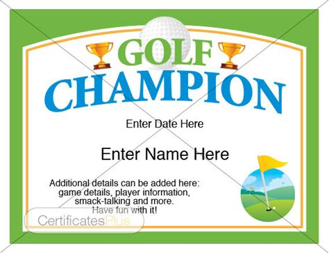 golf certificate template golf certificates for gifts gift ftempo