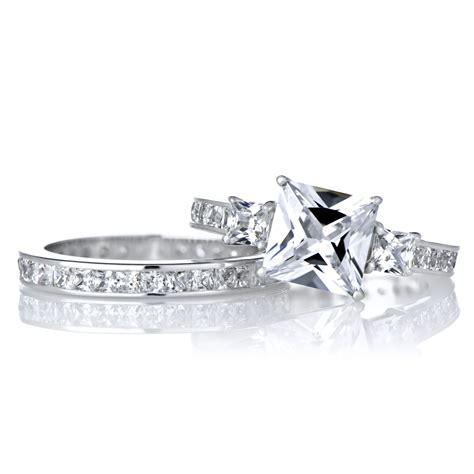 97 cheap princess cut wedding sets size of