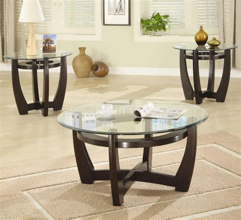 Glass Coffee Table Set Cappuccino Finish Base Glass Top Modern 3pc Coffee Table Set