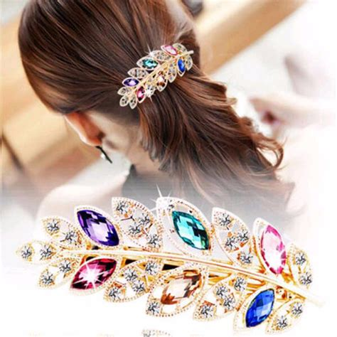 what kind of clip on hair for women with baldness on top of head 1 pc beauty women fashion hair clip leaf crystal