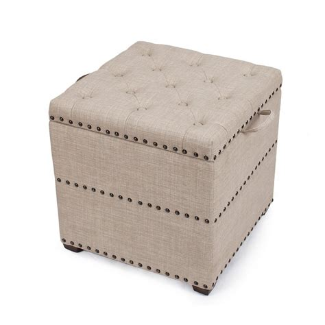 Adeco Begie Square Ottoman With Tray Storage Ft0048 3 Square Ottoman With Storage And Tray