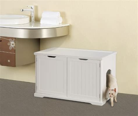 cat furniture litter box bench merry products cat washroom bench white the pet