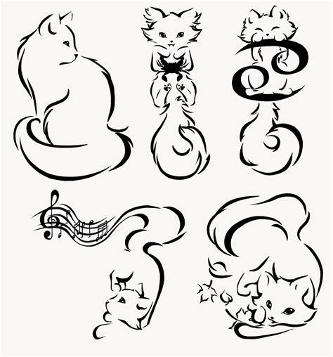 cat tattoo line work minimalism kitties commission by manic goose on deviantart