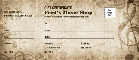 music arts gift certificates templates design examples