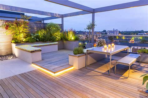 roof terrace design penthouse apartment king s cross development led lighting expanse of