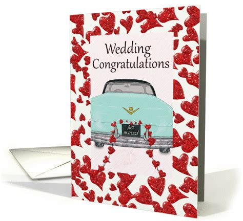 Wedding Congratulations Retro by Wedding Congratulations With Mint Classic Car And