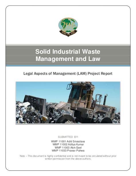 Mba Waste Services Ken Mitchell by Solid Industrial Waste Management Mba Project Report