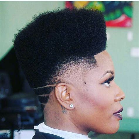 Fade Haircut For Black Women | back fade haircut for black women with design short