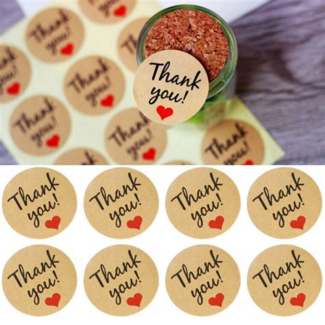 Paper Tags Sticker Thank You 60 pcs letter thank you paper tags self adhesive stickers kraft label sticker for