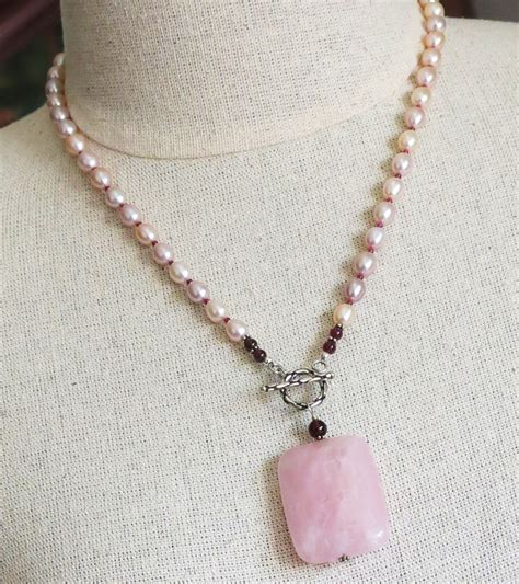 Handmade Charm Necklace - handmade pearl necklace with quartz handmade jewelry