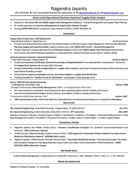 Supply Analyst Sle Resume by Supply Chain Resume Sle 28 Images Cargo Manager Sle Resume Supply Chain Management Ideas Of 100