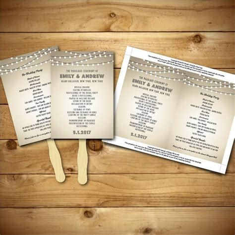 vintage wedding program templates printable vintage wedding fan program template brown