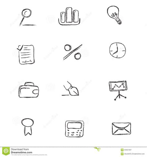 design icon in sketch doodle business icon set sketch hand drawing vector