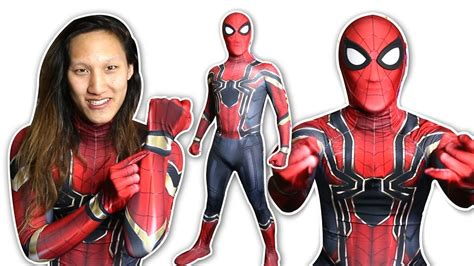 spider man iron spider suit cosplay unboxing youtube