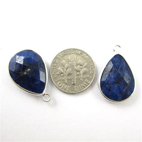 wholesale sterling silver teardrop bezel blue sapphire