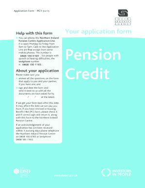 Pension Credit Application Form Pension Credit Forms Pc1d Fill Printable Fillable Blank Pdffiller