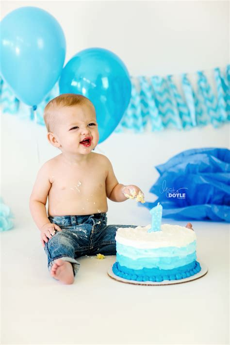 baby boy birthday birthday smash cake baby boy in with blue