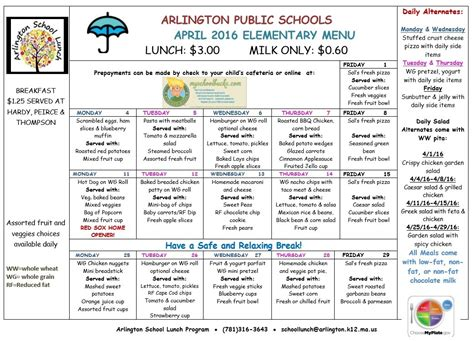 8 Free Sle School Menu Templates Printable Sles Free School Menu Templates