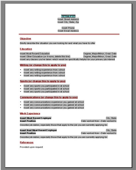word template for resume resume templates microsoft word 2010 playbestonlinegames