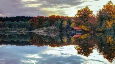 Dusk Autumn Forest Lake Water Nature Landscape Lake Forest Fall Sunset Water Calm