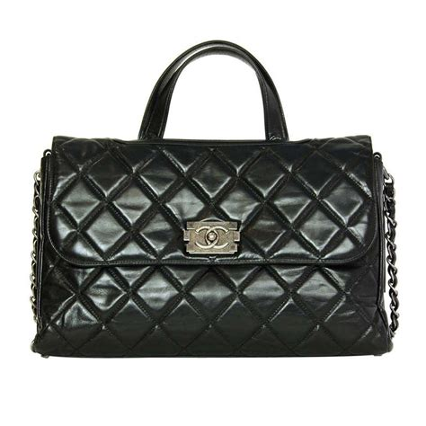 Chanel Quilted Boy Bag Price by Chanel 2012 Black Quilted Convertible Boy Flap Tote Bag W