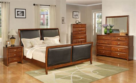 Transitional Bedroom Sets by Brown Finish Transitional 6pc Bedroom Set W Bicast Inserts