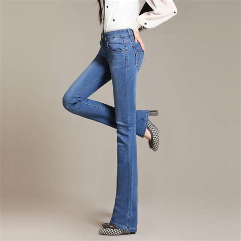 2015 bell bottom jeans 2015 summer mid waist slim pants bell bottom jeans female
