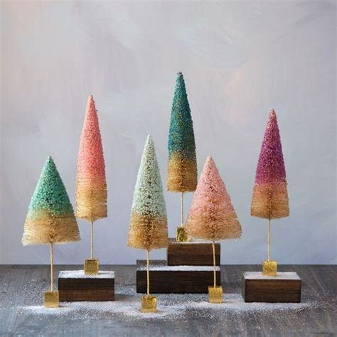 gold base bittle brush trees uptown pastel bottle brush trees with gold square base pink blue theholidaybarn