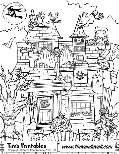 coloring pages haunted house halloween printable haunted house coloring page