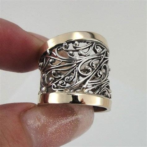 Handcrafted Ring - great handcrafted 9k yellow gold sterling silver ring size
