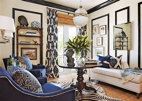 nautical living with navy blue white natural textures living room with navy ikat and natural textures living