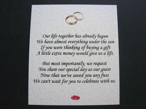how to ask for money instead of gifts for wedding lovely 20 wedding poems asking for money gifts not presents ref