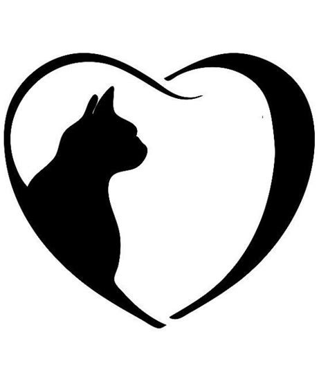 tattoo cat silhouette 33 best cat with heart outline tattoo designs images on