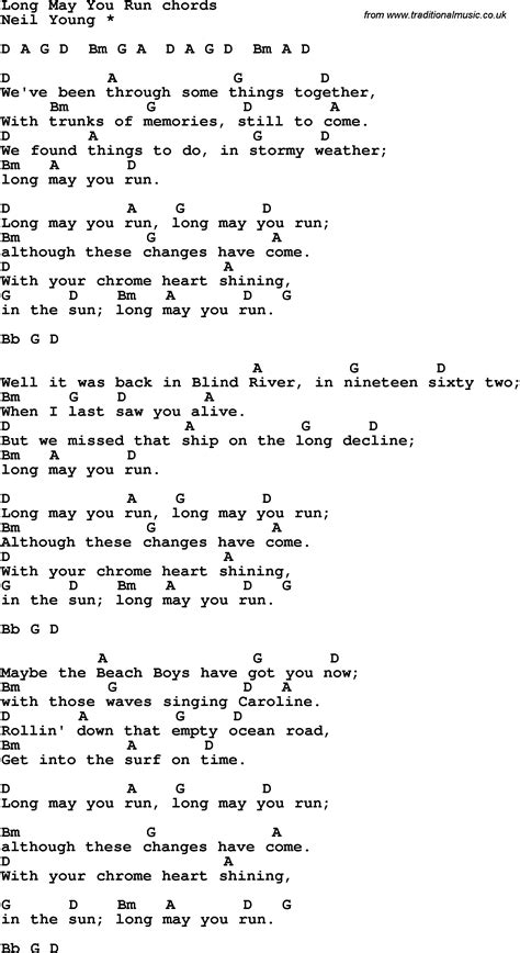 Song lyrics with guitar chords for Long May You Run