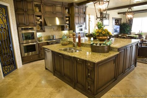 traditional kitchens with islands pictures of kitchens traditional dark wood kitchens