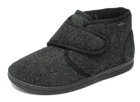 mens boot slippers mens sturdy thick felt fleece lined velcro boots bootie