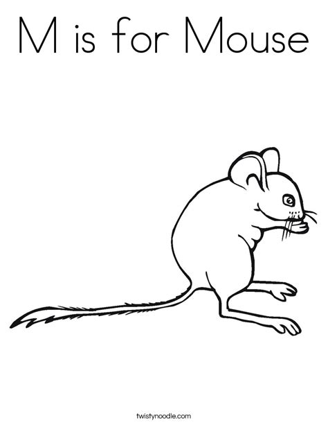 M Is For Mouse Coloring Page Twisty Noodle A Is For Coloring Pages