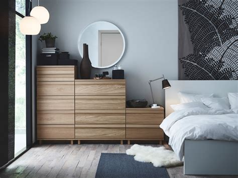 Ikea Oppland Dresser by A Bedroom With Oppland Chest Of Drawers In Oak A Malm Bed