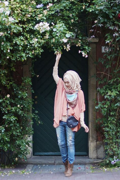 stylish ways  wear hijab  jeans  chic