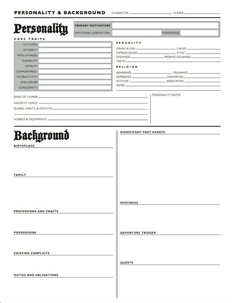 character template character profile and background sheet writing aids